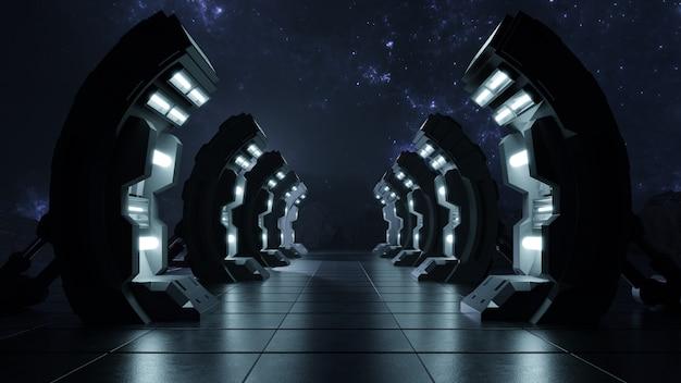 Scuro corridoio vuoto la porta verso il futuro.