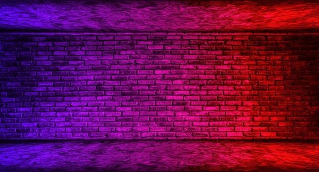 暗い空の部屋灰色の床コンクリートレンガの壁のガレージは、室内装飾用のコンクリートの壁のグラデーションの背景に赤と青の照明効果があります。