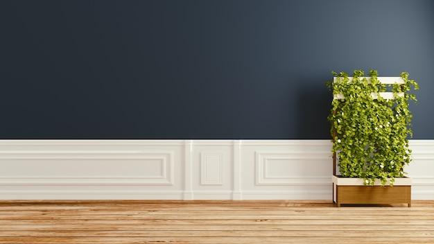Темный, пустой дизайн интерьера комнаты. 3d рендеринг