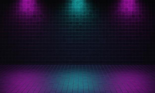 보라색과 파란색 스포트라이트 배경으로 벽돌로 만든 어두운 빈 방