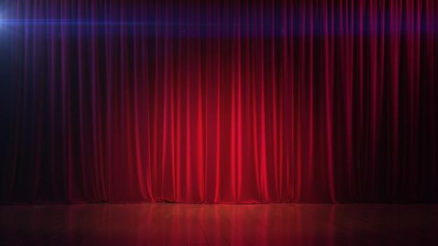 Темная пустая сцена с насыщенным красным занавесом d render