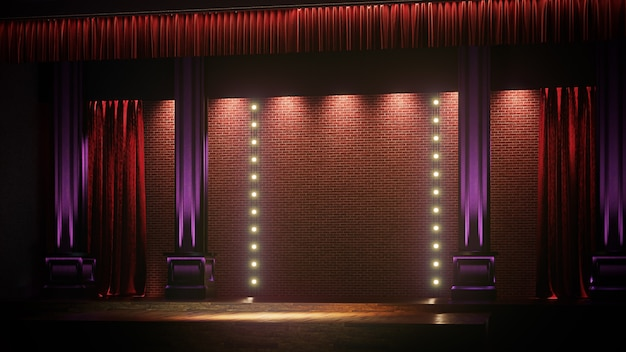Dark empty stage with spot lights. comedy, standup, cabaret, night club stage 3d render.
