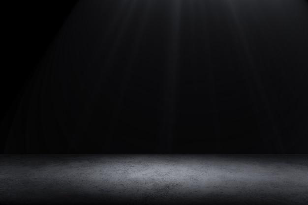 暗い床の背景製品を表示するための黒い空のスペース、黒いコンクリート表面の地面のテクスチャ。