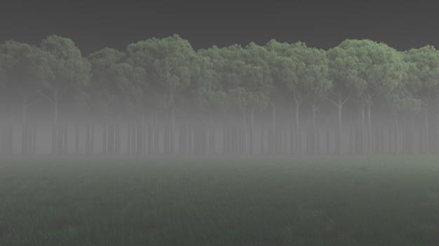 Темный лес в тумане 3d визуализации