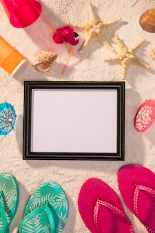 Dark frame with colorful summer attributes