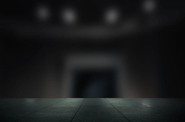石のタイルテーブル製品ディスプレイと暗いギャラリーの背景