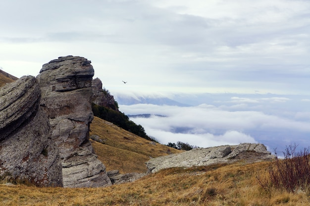 Dark ghost valley crimea, rocks and fog in fall season