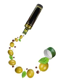 Темные стеклянные бутылки для оливкового масла, изолированные на белом фоне