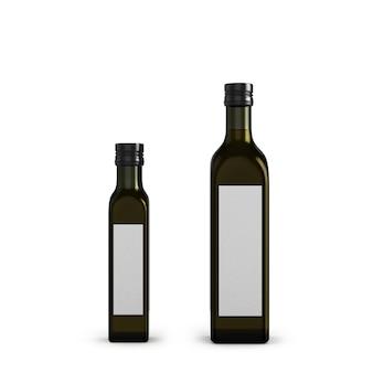白で隔離されるさまざまなサイズのオリーブオイル用の暗いガラス瓶