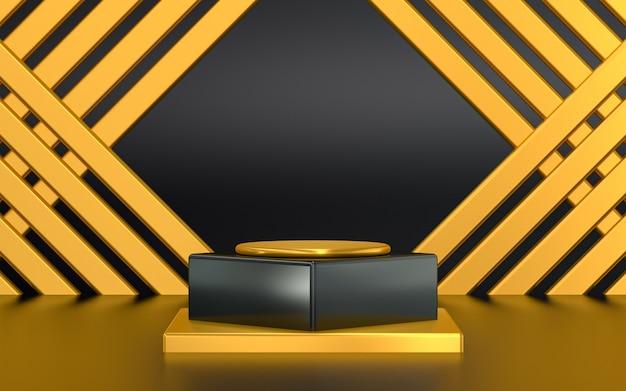 抽象的なパターンの背景を持つ製品プレゼンテーションのためのダークゴールドの3dレンダリング表彰台ディスプレイ