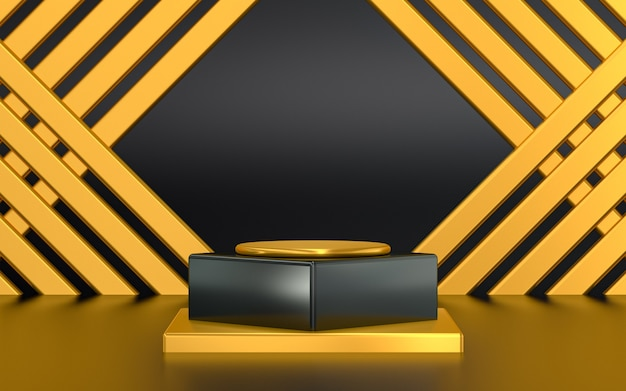 Dark gold 3d rendering podium display for product presentation with abstract pattern background