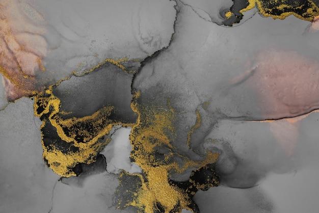Темно-золотой абстрактный фон мраморной жидкой туши художественной росписи на бумаге.