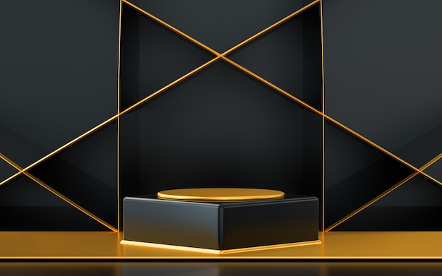 Dark and gold abstract empty space podium display for product promotion 3d rendering