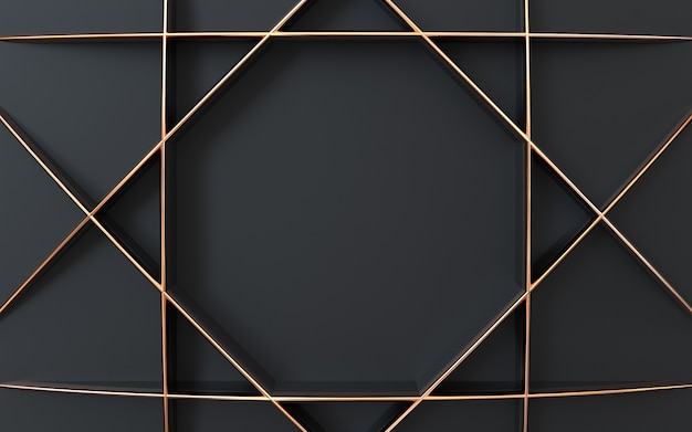 Dark and gold shape 3d rendering geometric abstract background