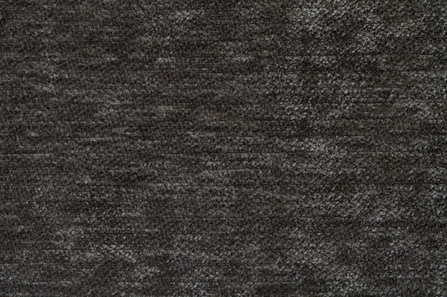 Dark gray background of soft, fleecy cloth. texture of textile closeup