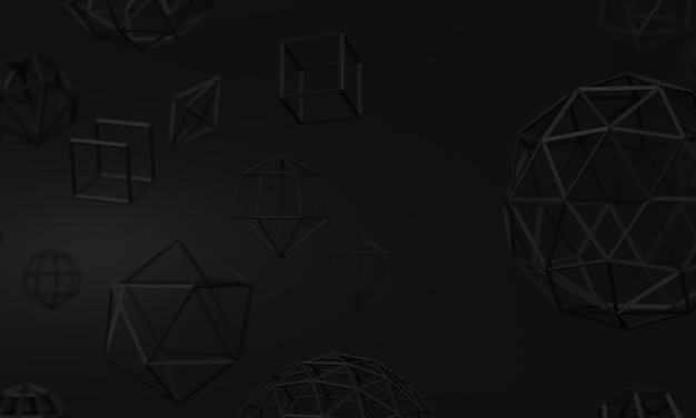 Dark gray background with abstract geometric shapes