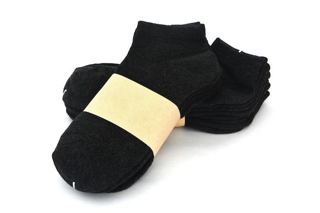 Мужские носки темно-серого цвета в упаковке с пустой этикеткой
