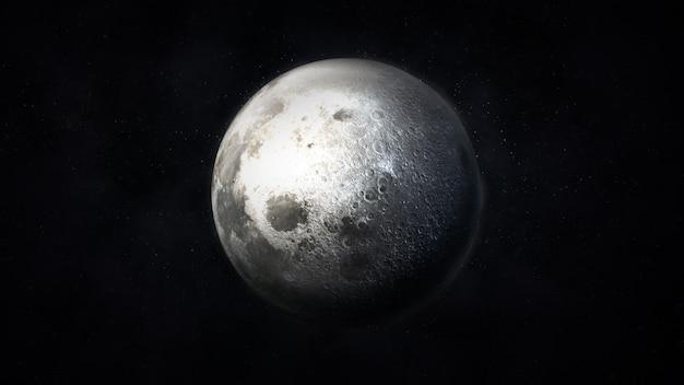 宇宙の現実的な月の濃い灰色の画像