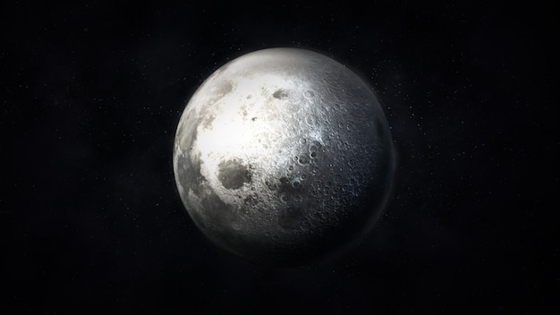 Dark gray image of a realistic moon in space