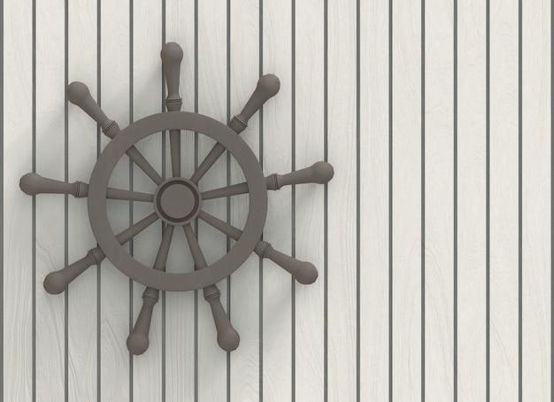 Dark gray wooden steering wheel on white wood panels wall background