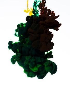 Nuvola di inchiostro verde scuro in acqua