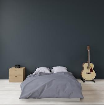 Темно-зеленая современная спальня с буфетом и гитарой
