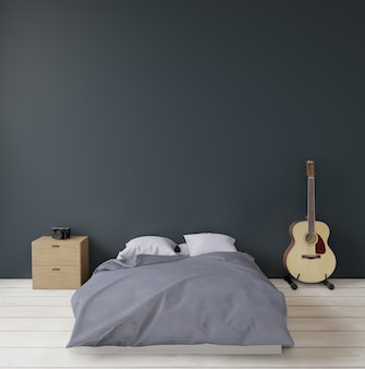 Dark green modern bedroom with guitar sideboard and camera