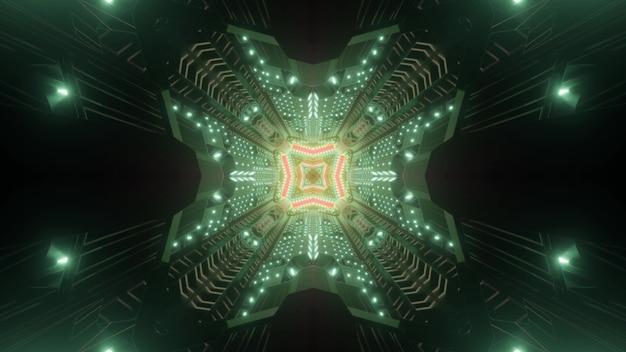 Dark green tunnel 3d illustration