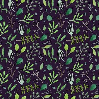 Темно-зеленый бесшовный образец с беспорядком из зеленых и синих листьев и ветвей