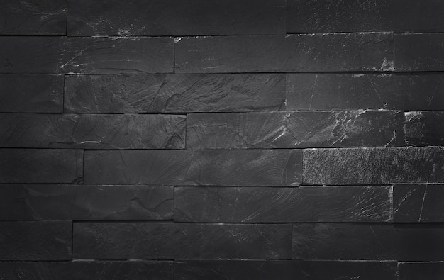Dark grey black slate texture with high resolution, pattern of stone brick wall and design art work.