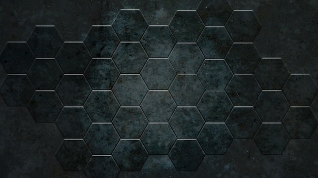 Dark grey hexagon background and real concrete texture for material design