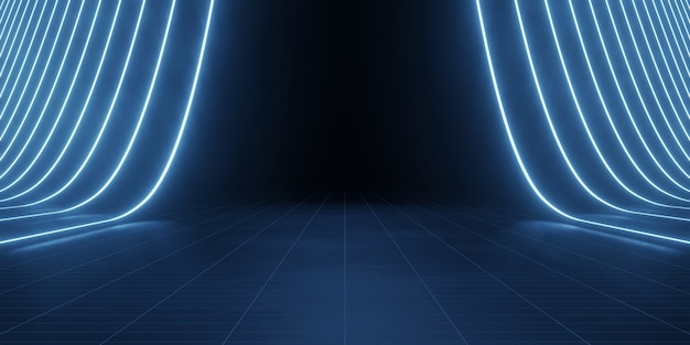 Темный гранж-фон пола со светодиодными полосами