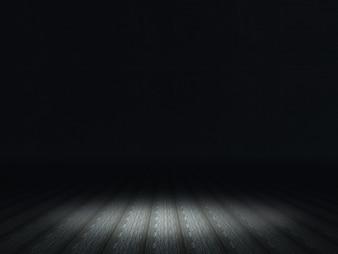 Dark grunge interior with spotlight shining on wooden floor