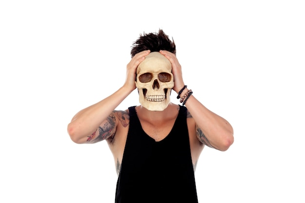 Dark guy with a human skull.
