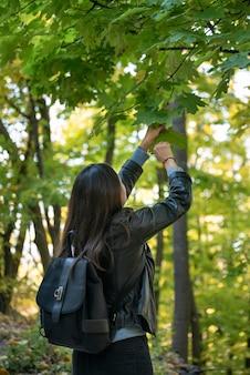公園の黒髪の女の子が葉を摘みます。春の森を歩く若い女性。背面図。垂直フレーム。