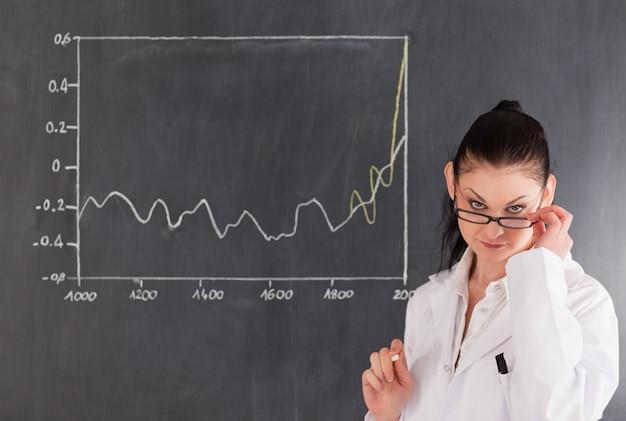 Dark-haired scientist standing near the blackboard