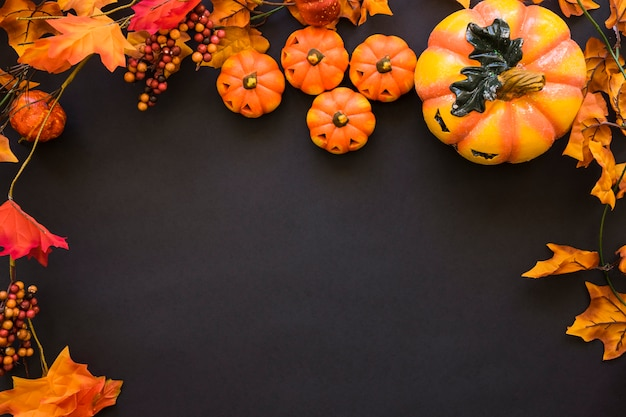 Dark halloween background composition with space