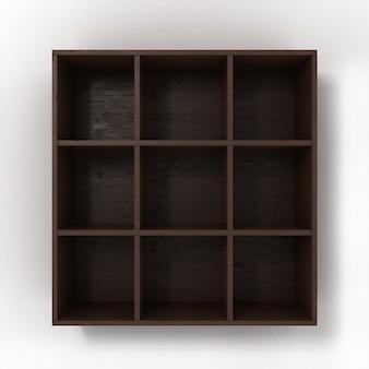 Темные подвесные книжные полки, изолированные на белом фоне