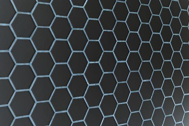 暗い六角形のパターンの壁の背景