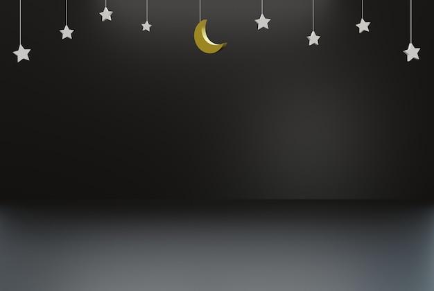 Темный исламский фон для плаката, флаера и т. д. 3d визуализации иллюстрации