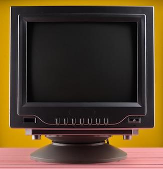 Dark lighting of a retro tv set