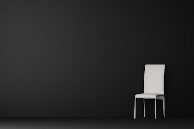 Dark living room with white chair. 3d rendering.