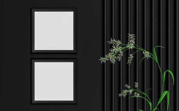 ダークラグジュアリーa4サイズの正方形のフォトフレームのモックアップの背景と緑の葉の3dレンダリング