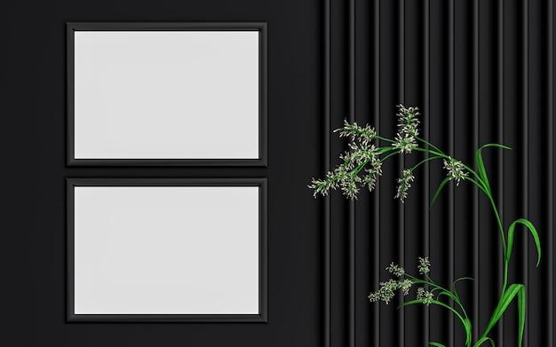 緑の葉の3dレンダリングと暗い豪華な水平フォトフレームモックアップ背景