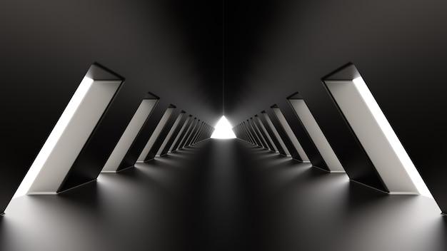 Dark metal triangular tunnel 3d