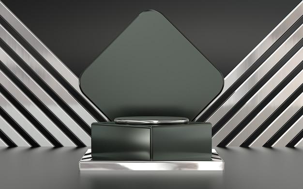 抽象的なパターンの背景を持つ製品プレゼンテーションのためのダークメタリック3dレンダリング表彰台ディスプレイ
