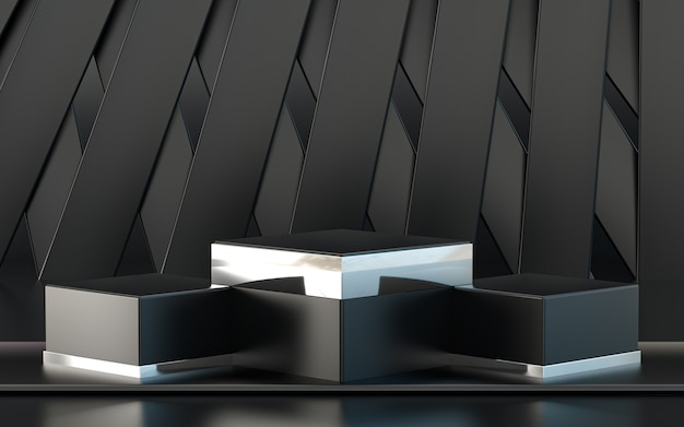 Dark metallic 3d rendering podium display for product presentation with abstract pattern background