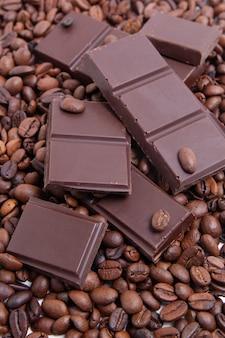 Dark milk chocolate and coffee beans