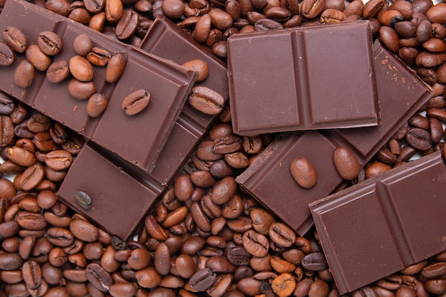 Dark milk chocolate and coffee beans