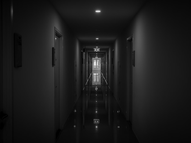 Dark mysterious corridor in building